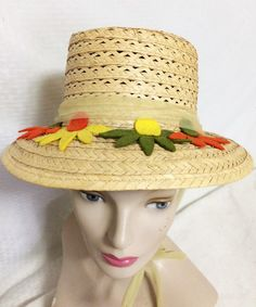 Items similar to Vintage Straw Sun Beach Summer Hat with Orange, Yellow and Green Felt Flowers Chin Ties Size Mod Women's Clothing Kitsch on Etsy Vintage Hats, Vintage Ladies, Toddler Summer Dresses, Macrame Owl, Vintage Velvet, Flower Applique, Summer Hats, Vintage Handbags