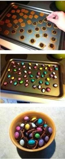 Fun, easy Easter recipe to make with kids - chocolate covered pretzels with colorful M's or peanut butter eggs on top!