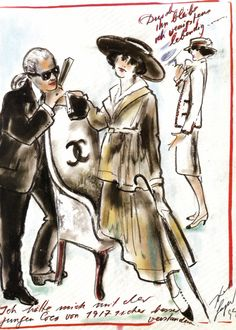 emariam: Chanel illustrations by Karl Lagerfeld, for German Vogue, January 1996 issue scanned by me
