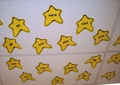 Star Words/Letters: write letters or words on stars, put them under a table or on the ceiling, and have children lay down and write the words/letters- how much fun is this??!?!