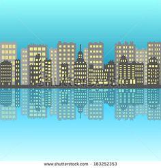 City with  pixel building  - stock vector