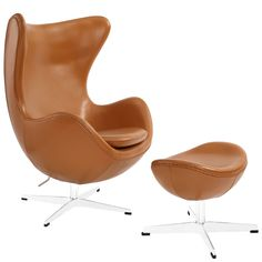 Egg Chair, Tan Leather