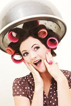 Retro Style Client in Curlers Under Beauty Salon Hair Dryer Royalty Free Stock Photo 1960 Hairstyles, Curled Hairstyles, Vintage Hairstyles, Sleep In Hair Rollers, Retro Updo, Hair Illustration, Pin Up Hair, Big Hair, Roller Set