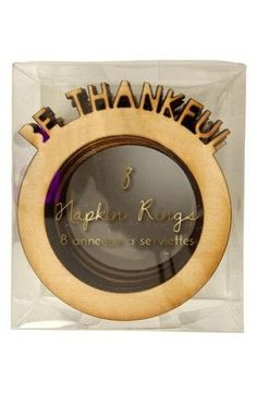 """When it's time to give thanks and pass the turkey around the table, set out these rustic wood napkin rings with your dining décor. Included 8 napkin rings. Wood. 2"""" x 3"""" x 2"""""""