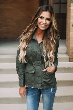 Olive Light Weight Jacket - Dottie Couture Boutique