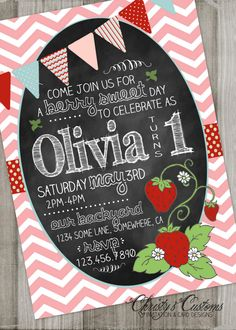 Strawberry Birthday Invitation Chalkboard with Chevron charm by… Picnic Birthday, 1st Birthday Girls, Birthday Fun, Birthday Ideas, Watermelon Birthday Parties, 4th Birthday Parties, Strawberry Shortcake Birthday, Baby Shower, Birthday Invitations