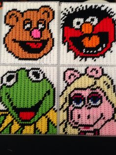Muppets plastic canvas tissue box. Kermit. Miss Piggy. Animal. Fozzie.