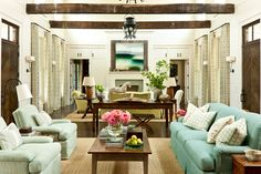 Layout for long room, multiple defined spaces: 2013 Southern Living Idea House