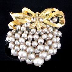 Vintage Early Miriam Haskell Pearl Bow Rhinestone Pin Brooch Plastic Backing | eBay