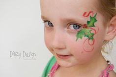 Holly eye swirl Christmas girls face paint