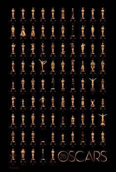 each oscar is a different illustration from the winner that year