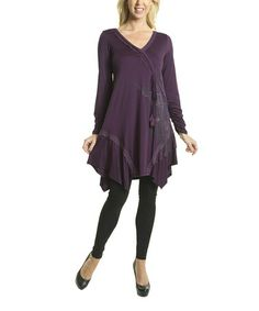 Take a look at this Purple Ruffle Surplice Tunic by Premise Paris on #zulily today!
