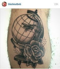 World Globe Tattoo get rid of the plane, and instead of the rose add a heart and this might be my future tattoo :)
