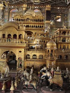 Jain temple at Ajmer, with gold plated wooden figures