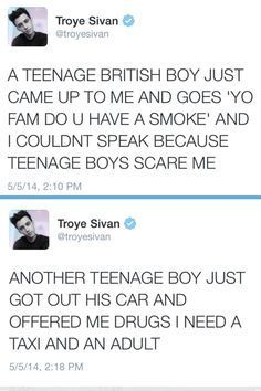 Troye Sivan you are the cutest fucking thing ever oh my God<<<<lol My Tumblr, Tumblr Posts, Tumblr Funny, Funny Tweets, Funny Memes, Bts Memes, Teenagers Scare The Living, Funny Cute, Hilarious