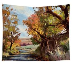 Davis Hollow Country Road, art tapestry from Steve Henderson Collections. Bring the autumn country landscape into your home in a big way with an art tapestry, featuring a quiet farmland road leading up into the hills and to adventure. #landscape #country #countryroad #landscape #rural #autumn #fall #afternoon #art #tapestry #homedecor #countrydecor