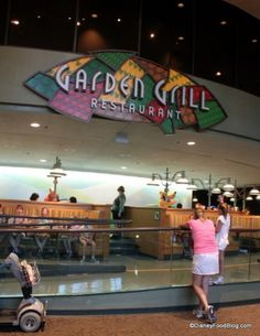 Epcot's Garden Grill Restaurant.  Great food, rotating restaurant and characters visiting your table. A wonderful dining experience.