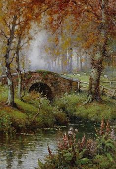 View The bridge at Somersby, Lincolnshire by Alfred Fontville de Breanski Jr on artnet. Browse upcoming and past auction lots by Alfred Fontville de Breanski Jr. Great Paintings, Beautiful Paintings, Beautiful Landscapes, Dream Pictures, Pictures To Paint, Watercolor Landscape, Landscape Paintings, Cottage Art, Storybook Cottage