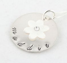 Flower Birthstone Necklace Custom Personalized Hand Stamped Sterling Silver. $43.00, via Etsy.