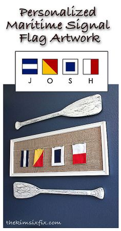 Personalized Maritime Signal Flag Art - Nautical Baby Names - Ideas of Nautical Baby Names - Personalized Maritime Signal Flag Art. using actual nautical flags to spell out a name or a monogram Nautical Flags, Nautical Baby, Nautical Home, Nautical Design, Nautical Backdrop, Nautical Centerpiece, Nautical Background, Nautical Kitchen, Nautical Wreath