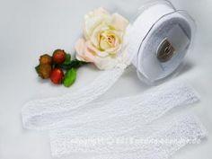 Geschenkband Dekoband Schleifenband Gitterband Floral Weiß ohne Draht 40mm