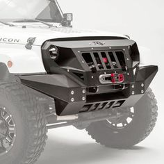 Fab Fours Front Full Width Grumper Winch Bumper with Integrated Skid Plate - Textured Black Jeep Wrangler Rubicon, Jeep Wrangler Camping, Jeep Wrangler Unlimited, Jeep Wrangler Accessories, Jeep Accessories, Jeep Jk, Jimny Suzuki, Winch Bumpers, Jeep Mods