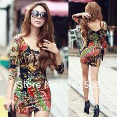 Outono novo pacote de mulheres coreanas impressão moda hip mini vestido plus size M, L, XL W11696 8.11