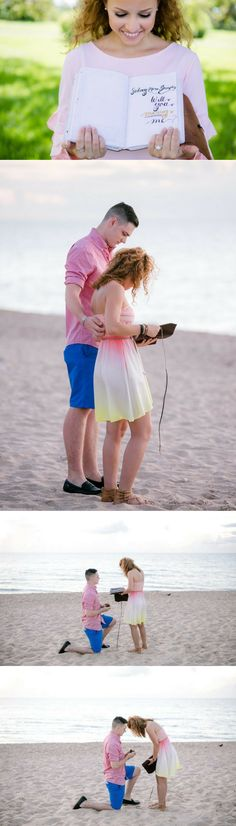He made a scrapbook of their relationship and then he gave it to her when he proposed on the beach! Wedding Proposals, Marriage Proposals, Engagement Photo Inspiration, Engagement Photos, Announcing Engagement, Engagement Ideas, Proposal Photos, Proposal Ideas, Perfect Proposal