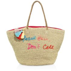 Rebecca Minkoff Beach Hair Don't Care Straw Tote (620 BRL) ❤ liked on Polyvore featuring bags, handbags, tote bags, evening handbags, straw beach tote, beige tote, straw tote bags and beach tote