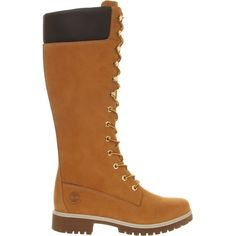 Timberland 14 Inch Premium Boots ($250) ❤ liked on Polyvore featuring shoes, boots, wheat, lined boots, timberland footwear, cushioned shoes, nubuck boots and nubuck shoes