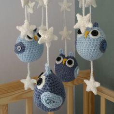 Handmade blues and grey owls and stars nursery mobile