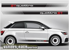 audi quattro racing stripes Audi Quattro side racing stripes sticker graphics, to suit all Audi cars. Kit contents: 2 x racing stripe graphics with quattro logos, for both sides of the car. The quattro logo is cut out of the main Car Backgrounds, Colorful Backgrounds, Car Stickers, Car Decals, Smart Fortwo, Racing Stripes, Audi A1, Red Logo, Car Wrap