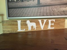 Handmade custom wood goldendoodle love sign-rustic, homemade, pallet wood, hand crafted, pet, dog, love, doodle, sign, reclaimed wood