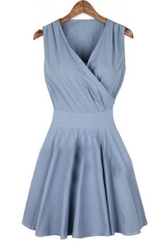 Blue V Neck Sleeveless Pleated Wrap Front Dress @Pascale Lemay De Groof