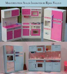 Miniatures From Avalon Imagination - Barbie kitchen makeover-go to blog for step-by-step photos.