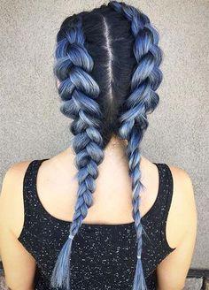 Blue Denim Hair Colors: Double Denim French Braid #denimhair #bluehair