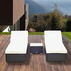 Outsunny Garden Rattan Furniture 3PC Wicker Sun Lounger Chaise Recliner with Table Set Aluminium Frame Patio Outdoor Furniture Price Β£289,99