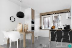 white & grey & wood dining room & kitchen dr YES Philippe Starck chairs