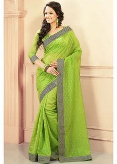 Green weaved cotton saree in black & white border-SR7693