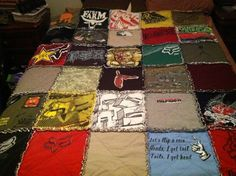 rag quilt for my oldest son made from outgrown t-shirts