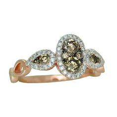 0.88 cttw. Chocolate And White Diamond Ring https://www.goldinart.com/shop/rings/diamond-rings/0-88cttw-diamond-ring-2 #ChocolateDiamonds, #DiamondRings, #RoseGold
