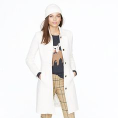 double-cloth lady day coat with Thinsulate; JCrew