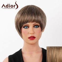 Graceful Short Full Bang Capless Human Hair Straight Women's Adiors Wig #>=#>=#>=#>=#> Click on the pin to check out discount price, color, size, shipping, etc. Save and like it!
