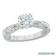 Celebration Fire® 1 CT. Diamond Solitaire Vintage-Style Ring in 14K White Gold (H-I/SI1-SI2)