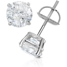 Round Solitaire Studs in 14K White Gold: 2CTTW (£1,700) ❤ liked on Polyvore featuring jewelry, earrings, accessories, jewelry & watches, white gold jewellery, earring jewelry, 14k jewelry, polish jewelry and white gold jewelry