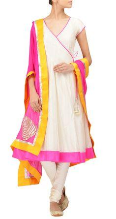 Going gaga over this designer's suits! Amrita Thakur - Ivory chanderi angrakha…
