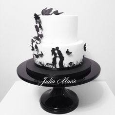 Silhouette+Engagement+Cake+-+Cake+by+Julia+Marie+Cakes - For all your cake decorating supplies, please visit craftcompany.co.uk