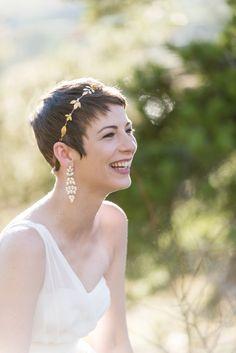 Gold Bridal Headpiece by Avigail Adam ( @avigailadam ) | Photograph by Tina Joiner ( @tinajoiner )