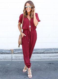The jumpsuit is featuring v neck, short sleeve, drawstring waist and solid color.;Polyester, soft and comfortable;The jumpsuit is featuring v neck, short sleeve, drawstring waist and solid color.;Package Contents:1*Jumpsuit (No accessories included).;As d