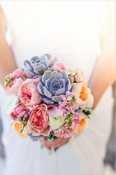 Succulent and rose bouquets @weddingchicks